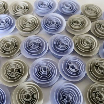 "24 Lilac and Gray Paper Flower Set, 1.5"" Roses, Grey Elephant Gender Neutral Baby Shower Table Decor Idea, Pastel Purple Wedding Decorations"