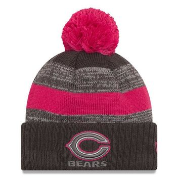 Chicago Bears Sideline Breast Cancer On Field Knit Hat By New Era