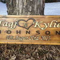 Personalized Family Name Sign Couple Wedding Gift Last Name Sign Established Sign Custom Wooden Sign Wood Plaque Personalized Carved sign