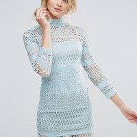 Club L Long Sleeve Crochet Detailed High Neck Dress at asos.com