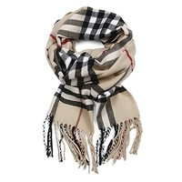 Soft Feel Traditional Plaid Oblong Scarf with Fringe
