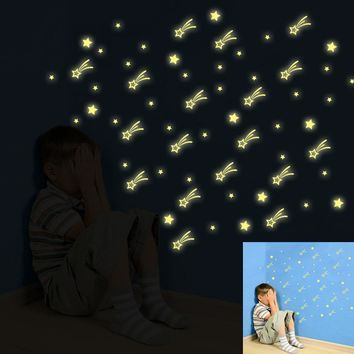 Kids Bedroom Fluorescent Glow In The Dark Stars Wall Stickers