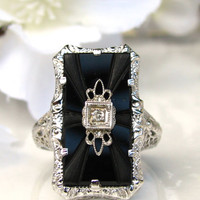 Exquisite Art Deco Engagement Ring Butterfly Motif Etched Onyx Ring Petite Old Cut Diamond 14K White Gold Ring Belais Art Deco Filigree Ring