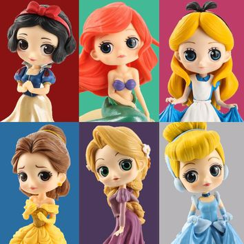 Cinderella Belle Alice in Wonderland Mermaid Ariel Snow White Rapunzel Jasmine tinker bell Qposket PVC Princess Figure Doll Toys