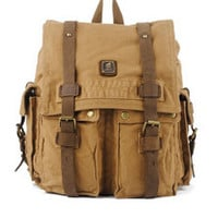 Heavy Duty Multi-Pocket Canvas & Leather Durable School Backpack