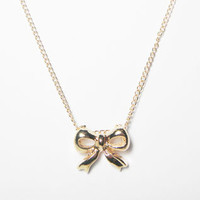 Gold Bow Charm Necklace