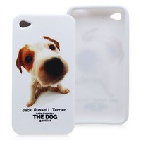 [$2.92] Jack Russell Terrier Pattern TPU Protective Back Case Skin Cover for iPhone 4 4S (White)
