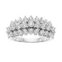 1/2 Carat T.W. Diamond Sterling Silver 3-Row Ring (White)