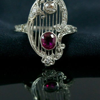 Spectacular Edwardian Diamond And Ruby, Platinum Filigree Ring.  Antique Ruby Engagement Ring.