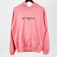 Givenchy Popular Women Men Loose Print Long Sleeve Hoodie Sweater Pullover Top Sweatshirt Pink
