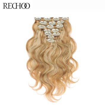 Rechoo 27/613 Mix Color Non-Remy Peruvian Hair 7Pcs Full Head 70 Gram Body Wave Human Hair Clip in Hair Extensions