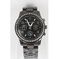 MK Michael Kors Stylish Women Men Diamond Sport Watch Wristwatch Black I-YF-GZYFBY