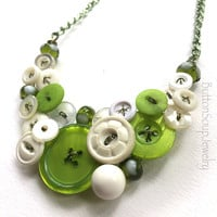Bright Lime Green and White Button and Bead Necklace