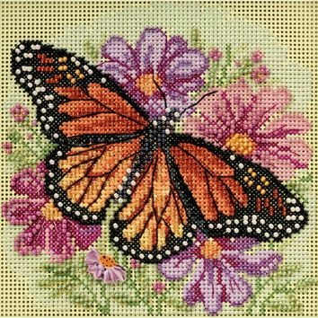 """Winged Monarch Spring (14 Count) Mill Hill Buttons & Beads Counted Cross Stitch Kit 5""""X5"""""""