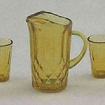 1:12 Scale Pitcher with 4 Glasses, Dark Amber #CHR88DA