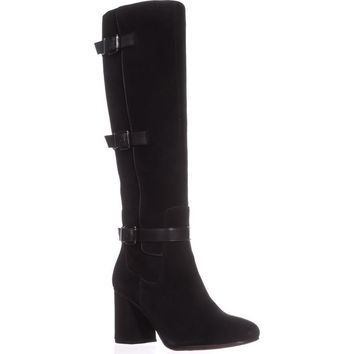 Franco Sarto Knoll Knee-High Boots, Black Suede, 6.5 US / 36.5 EU