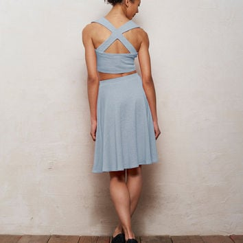 Mix n Match Kirsten Bralet and Skater Skirt Set in Pastel Light Blue