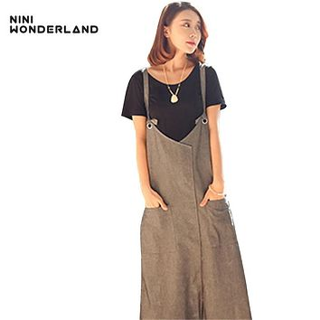 New  summer Gray cotton linen suspender dress for female Women Sleeveless Spaghetti strap casual long dresses 87092