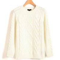 Retro Cable and Diamond Knit Sweater in White