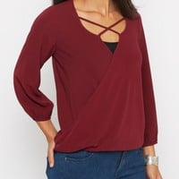 Burgundy Crepe High Low Surplice Top | Shirts | rue21
