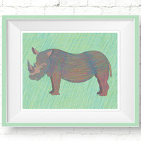 Rhino Nursery Poster, Rhino Rescue Donation, Printable Rhinoceros Art Print, Green African Animal Wall Art, Chalk Pastel Rhino Illustration
