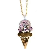Gold Mirror Ice Cream Acrylic Pendant Necklace