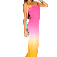 Pink Orange Strapless Two Tone Sexy Summer Maxi Dress