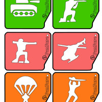 Green Army Men theme, FunFare stencil set (6 stencils), food decorating stencils