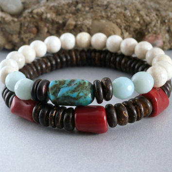 Boho Stacking Bracelet Set Red Coral and Turquoise Bracelet Turquoise Jewelry Coconut Wood Boho Stone Jewelry Earthy Riverstone Beaded