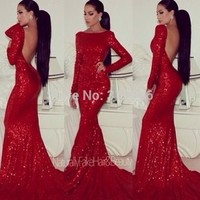 Sparkly Prom dresses 2014 Backless Mermaid Sheath Fitted Red Sequin Sparkle Dress High Neck Formal Dresses-in Prom Dresses from Apparel & Accessories on Aliexpress.com | Alibaba Group