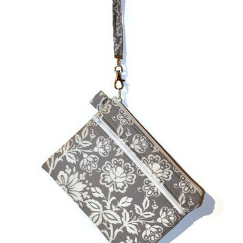 Gray and white wristlet, double zipper bag,  padded cell phone bag, zippered gadget case, gadget bag, cell phone wristlet, bridesmaid pouch.