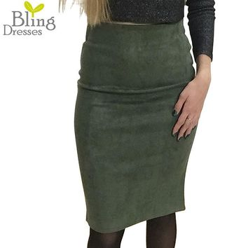 Fashion Women Suede Solid Color Pencil Skirt Female Spring Autumn Basic High Waist Bodycon Split Knee Length Skirts 7 Colors