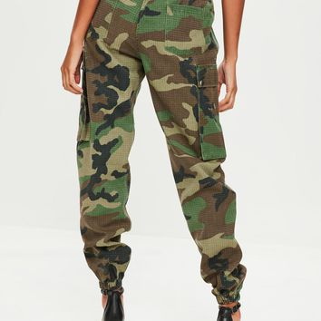 Missguided - Green Camo Printed Cargo Trouser
