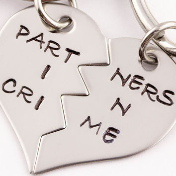 Partners in Crime Keychain | Gift For Best Friend | Best Bitches Key Chain | Hand Stamped Best Friend Keychains | Best Friend Gift | Keyring