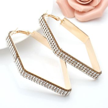 Square Big Hoop Earrings Statement Jewelry Metal Rhinestones Earrings Charm For Women Wedding Party Luxury Jewelry Bronco