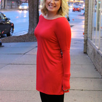 Long Sleeve Tunic, Red