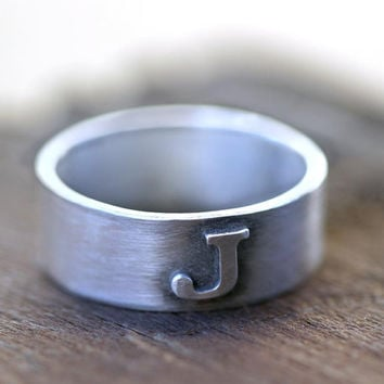 Monogram ring with custom initial by monkeysalwayslook on Etsy