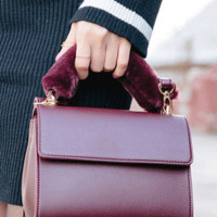 Fur Handle Mini-Handbag