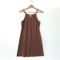 90s brown sun dress. ribbed tank top dress. camisole mini dress. minimalist dress.