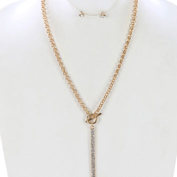 "24"" crystal paved 3.75"" bar pendant gold long chain necklace .15"" earrings"