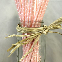 25 Polka Dot print pink and white paper straws for parties weddings Decorations Drinking Straws zig zag cake pop sticks party straws
