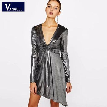 Vangull New Style Fashion Vestidos Women Dress Silver Color Ladies V Neck Long Sleeve Bandage Bodycon Dress Sexy Party Club Wear