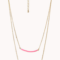 FOREVER 21 Subtle Layered Chain Necklace Pink/Gold One