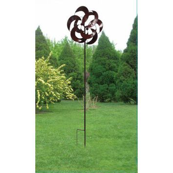 Flower Petal Iron Windmill Garden Decor