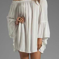 White Off-Shoulder Flared Sleeve Shift Dress