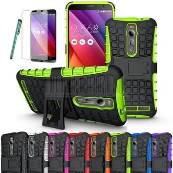 Rugged Shockproof Armor Impact Hybrid Case Cover Hard Stand Cover+Film+Pen For ASUS ZenFone 2 ZE551ML ZE550ML