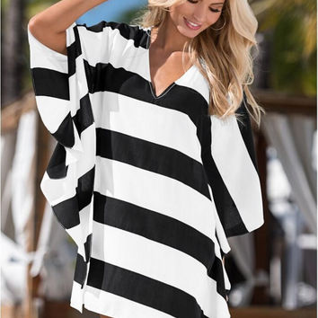 White and Black Striped Plus Size Dress