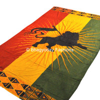 Jah Rasta Lion reggae Hippie Hippy Indian Tapestry Wall Hanging Throw Cotton Bed cover Bohemian Bed Decor Bed Spread Ethnic Decorative Art