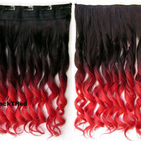 Dip dye hairpieces Gradient wig Bath & Beauty 5 Clip in synthetic Dyeing hair extension hairpieces wavy slice curly hairpiece GS-888 Black T Red,Hair Care,fashion Cosplay ombre 1PCS