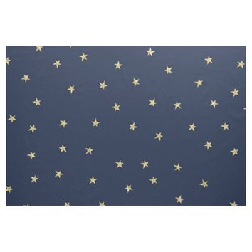 "Navy And Gold Stars Custom Pima Cotton (54"" width) Fabric"